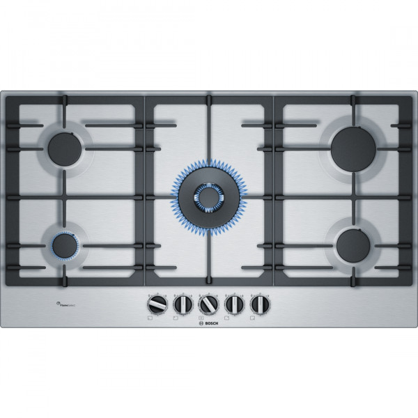 Placa de Gas - Bosch Serie 6 PCR9A5B90 Integrado Gas hob Negro, Acero inoxidable hobs