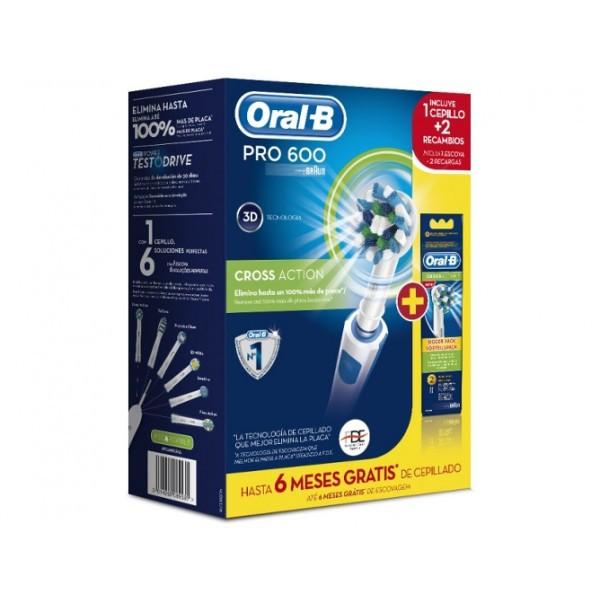 Cepillo dental eléctrico - Braun Oral-B PRO 600 CrossAction Adulto Cepillo dental oscilante Azul, Color blanco