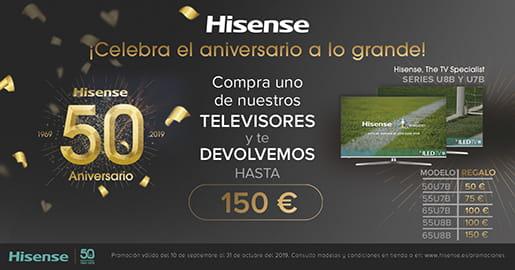 Llévate hasta 150€ de reembolso con tu televisor Hisense ULED